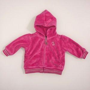 BABY PHAT Layette Pink Velour Zip Up Hoodie